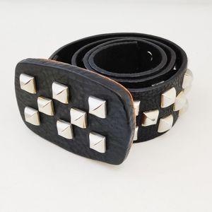 Brave Beltworks| Black Leather Studded Belt S 28